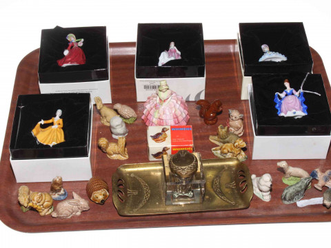 Six Royal Doulton miniature ladies, brass and glass inkwell, and collection...