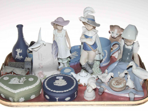 Lladro girl with geese, Nao figures, Wade Church and Stately Home, Wedgwood...