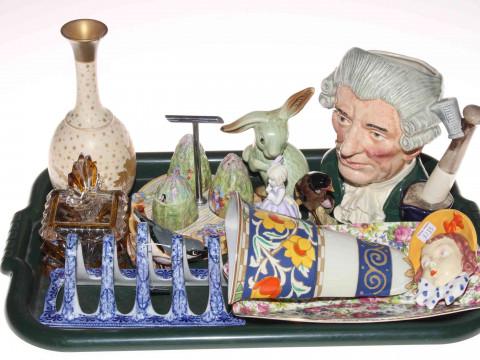 Royal Doulton character jug, Wedgwood vase, china cruet, blue and white...