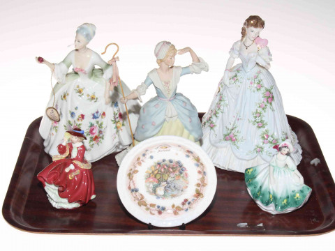 Three Royal Doulton ladies, Worcester and Wedgwood figures, and Doulton...