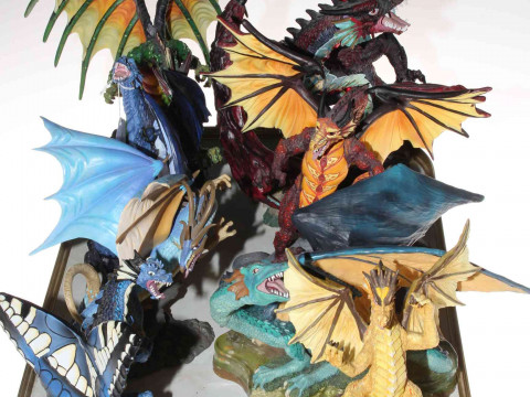 Eight 'Land of the Dragon' sculptures.