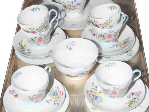 Shelley twenty one piece 'Wild Flowers' 13668 tea service.