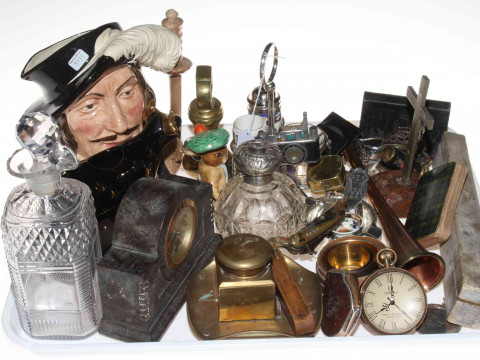 Tray of collectables including fan, watches, silver topped bottle, decanter,...