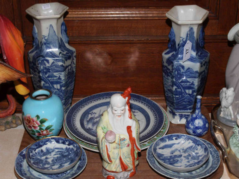 Pair of hexagonal Oriental vases, Oriental plates and figure.