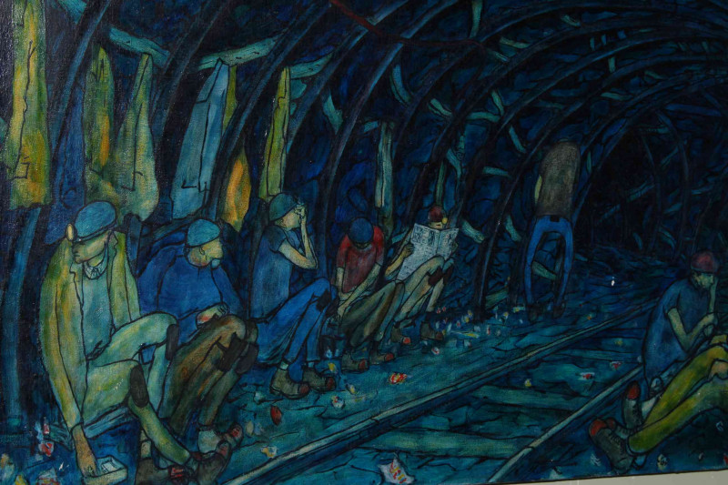 Tom McGuinness (1926-2006) British coal miner and artist, Break Time Underground, oil on canvas laid down on panel, signed and dated lower right, 1974, 61cm by 92cm. *ARR will apply.