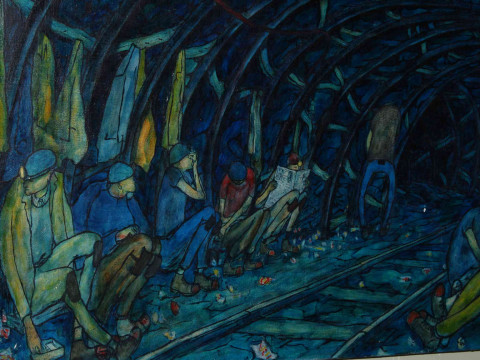 Tom McGuinness (1926-2006) British coal miner and artist, Break Time Underground, oil on canvas laid down on panel, signed and dated lower right, 1974, 61cm by 92cm. *ARR will apply. thumbnail