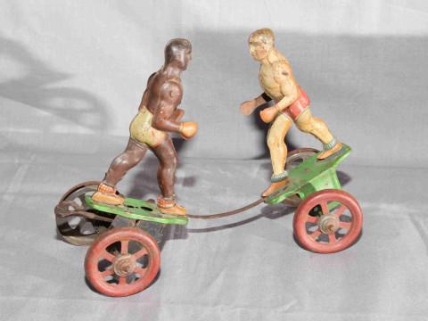 Gerbruder Einfalt tinplate clockwork Boxing Figures.   Original paint....