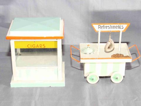 Kibri O Gauge tinplate Refreshments Trolley and Tobacco Kiosk.  Excellent...