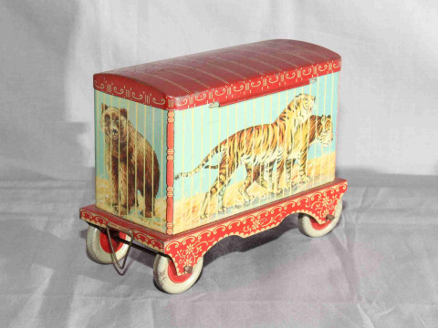 Crawfords Biscuit Tin in shape of Circus Animal Cage Trailer.   Excellent.