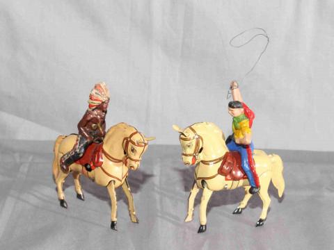 DRGM US Zone Germany clockwork Tinplate Cowboy & Indian on Horseback....