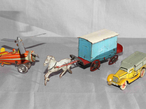 DRGM clockwork Gyro Copter, Tipp Co small Truck and early Horse Drawn...