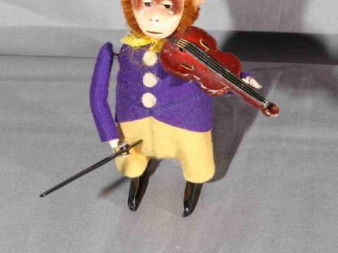 Schuco clockwork Monkey playing Violin.   Original clothes.   Excellent,...