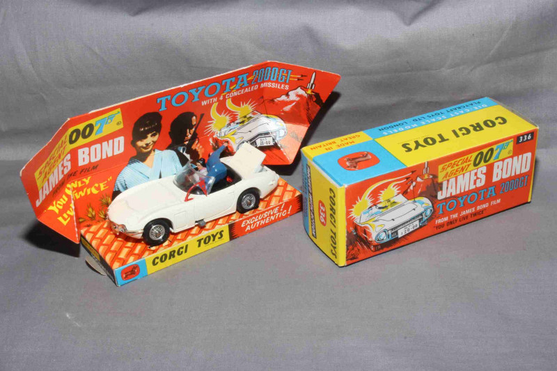Corgi Toys 336 James Bond Toyota 2000GT.   Near Mint in Near Mint box complete with inner plinth and Secret Instructions.