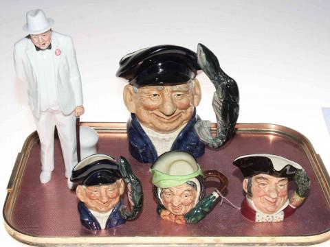 Large Royal Doulton Lobster Man, character jug and three small character...