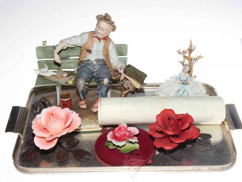 B.Merli Tramp on Bench, Capo di Monte Crinoline Lady and three porcelain...