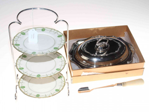 As new silver plated tureen, bone hand cheese scoop and three tier Royal...