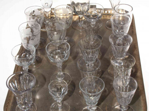 Collection of 19th Century and later drinking glasses.