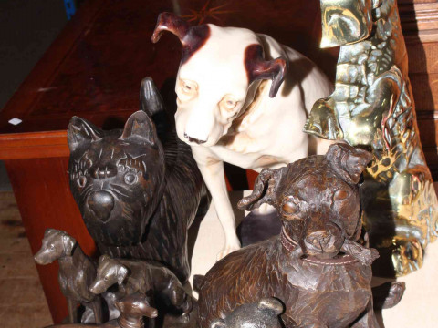 Brass Scottie dog door stop, two bronze greyhounds, Nipper and three other...