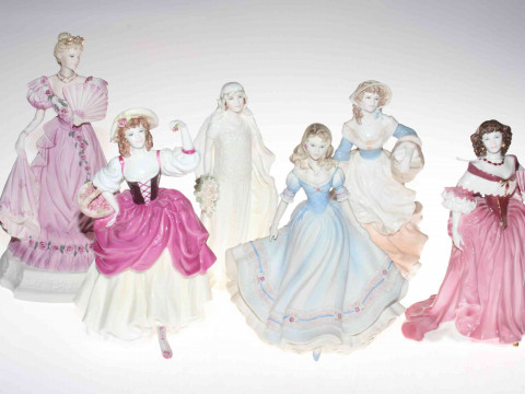 Six Coalport ladies, Annabelle, Ripe Cherries, Milkmaid, First Love, Queen...