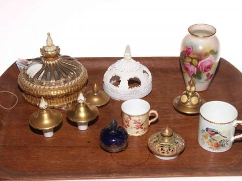Royal Worcester rose vase, blush miniature mug, bird decorated cup and...