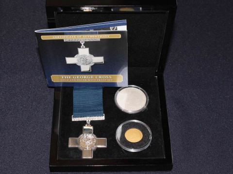 The George Cross Gold and Silver Matt Proof Set by The Bradford Mint with...