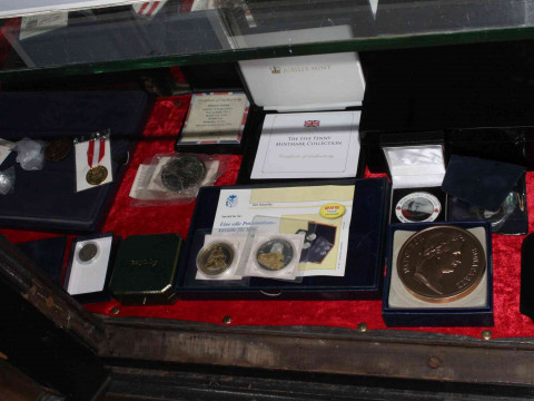 Box of coins and empty Westminster coin cases. Inc: The D-Day Dozen Commemorative...
