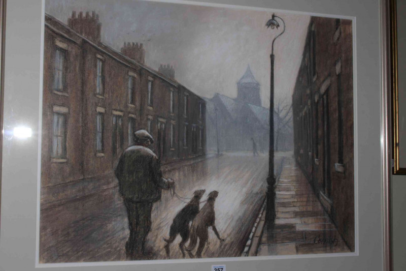 Norman Cornish (1919-2014), Man with Greyhounds on Edward Street, pastel, 53cm by 70cm, framed, together with letter of provenance and booklet. (*ARR)
