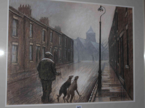 Norman Cornish (1919-2014), Man with Greyhounds on Edward Street, pastel, 53cm by 70cm, framed, together with letter of provenance and booklet. (*ARR) thumbnail