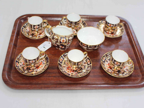 Set of six Royal Crown Derby Imari pattern coffee cans and saucers, together...