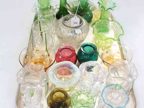 Collection of mostly coloured glass vases including vaseline piece (22).