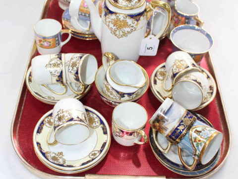 Pair Noritake vases and Noritake coffee set and other, etc.