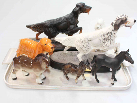 Two Beswick 'Setter' sculptures and five other dog and horse ornaments...