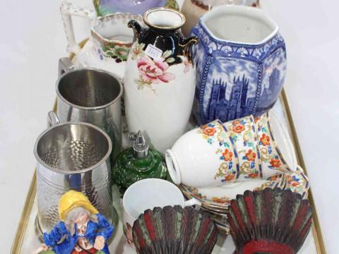 Tray lot with vases, child's mug, etc.