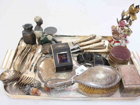 Tray lot with porcelain figure candle holder, silver brush and mirror,...