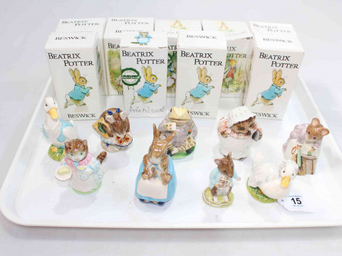 Collection of nine Beswick Beatrix Potter figures including Ribby & Appley...