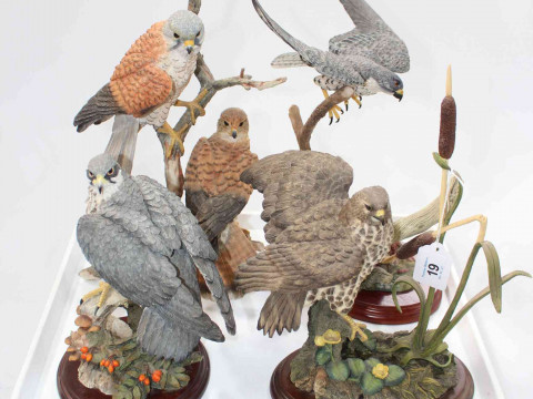 Border Fine Arts Flying Peregrine and three Country Artists Birds of Prey...