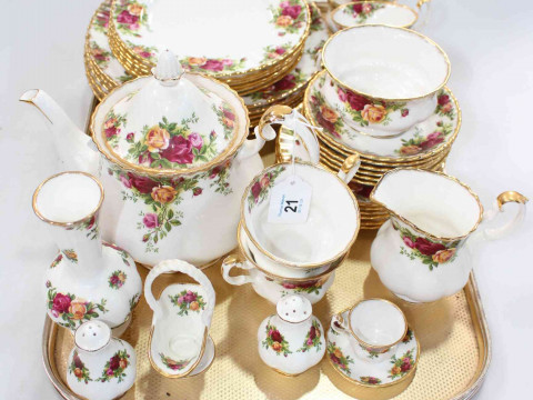 Royal Albert Country Roses tableware, thirty eight pieces including teapot,...