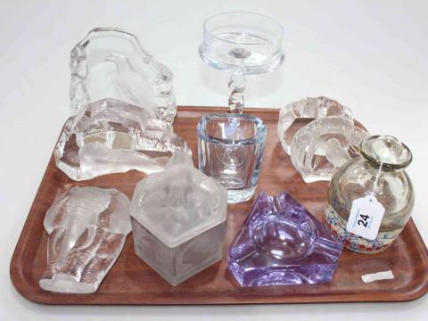 Glassware including Millefiori scent bottle, animal paperweights, etc...