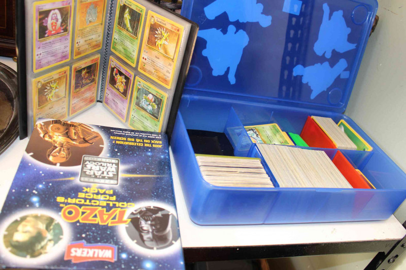 Collection of Corgi James Bond 007 and other Diecast models (majority boxed), Star Wars and Pokemon trade cards.
