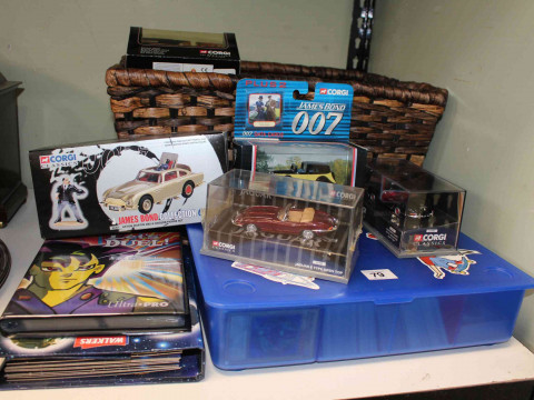 Collection of Corgi James Bond 007 and other Diecast models (majority boxed), Star Wars and Pokemon trade cards. thumbnail