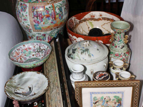Collection of Oriental china including large lidded vase, bowls, pictures,...