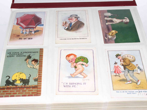 Album of vintage comic postcards, approximately 300 including Donald McGill,...