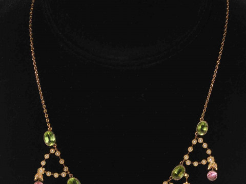 Peridot, seed pearl and pink stone elegant necklace in 9 carat gold.