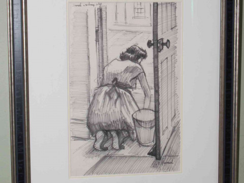 Norman Cornish, Sarah Washing Step, Flomaster ink on paper, signed and...