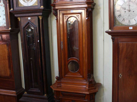 Austrian walnut longcase clock with copper and silvered dial signed Joh....